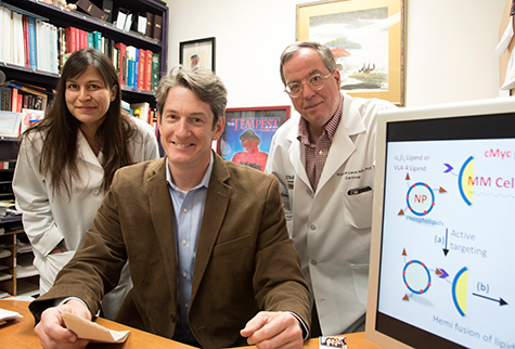Researchers at Washington University School of Medicine in St. Louis have developed a nanotherapy that is effective in treating mice with multiple myeloma, a cancer of bone marrow immune cells. From left are first author Deepti Sood Gupta, PhD, and co-senior authors Michael H. Tomasson, MD, and Gregory M. Lanza, MD, PhD.