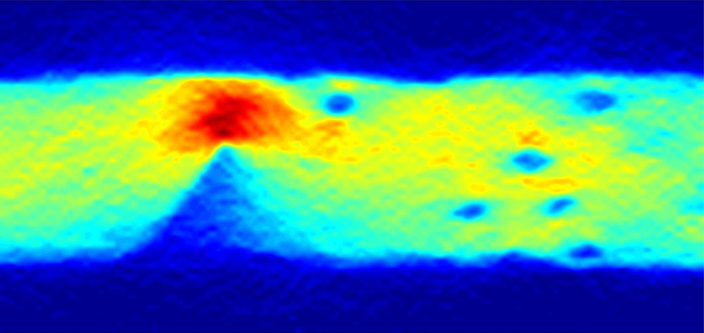 An image of the current flow in graphene, obtained using a diamond quantum sensor. The colour reveals where defects lie by showing the current intensity i.e. the number of electrons passing through each second. @ University of Melbourne/cqc2t.org