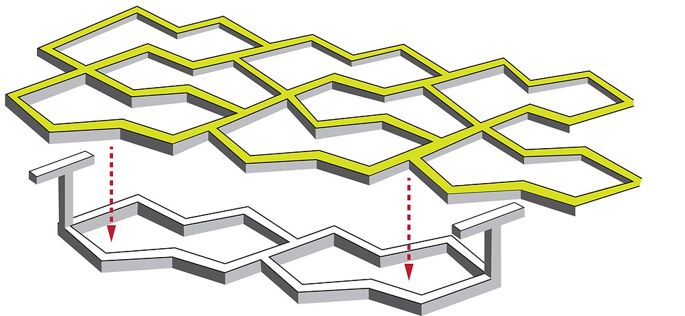 This diagram shows how T-shaped posts on one layer of a tissue scaffold pass through the holes in a second layer — similar to the hooks and loops used to fasten Velcro™ (Image: Raymond Cheah).