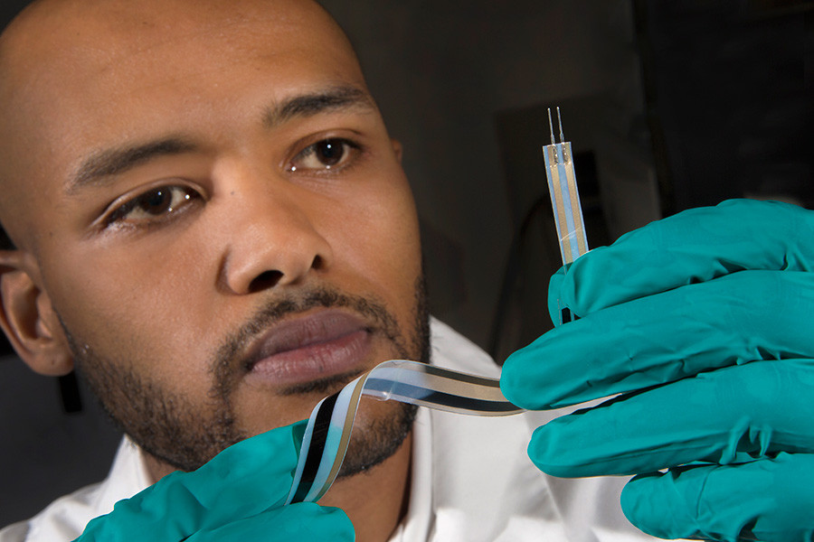 FAMU-FSU College of Engineering doctoral candidate Joshua DeGraff developed an advanced class of scalable motion sensors using silver ink electrodes and sheets of pure carbon nanotube buckypaper. @ FSU Photography Services