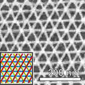 Scanning electron microscope image of a three-layer platinum mesh. The colored inset shows each distinct layer of the nanoscale grid.