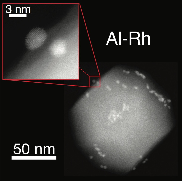 Nano-islands of ruthenium adhere to an aluminum nanoparticle. Rice University scientists and colleagues at the University of Cambridge combined aluminum nanoparticles and smaller metal particles as they created versatile plasmonic nanostructures. (Credit: Sadegh Yazdi/Rice University)