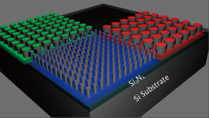 A schematic of the surface the team created featuring tiny silicon nanostructures.  © 2018 A*STAR Institute of Materials Research and Engineering