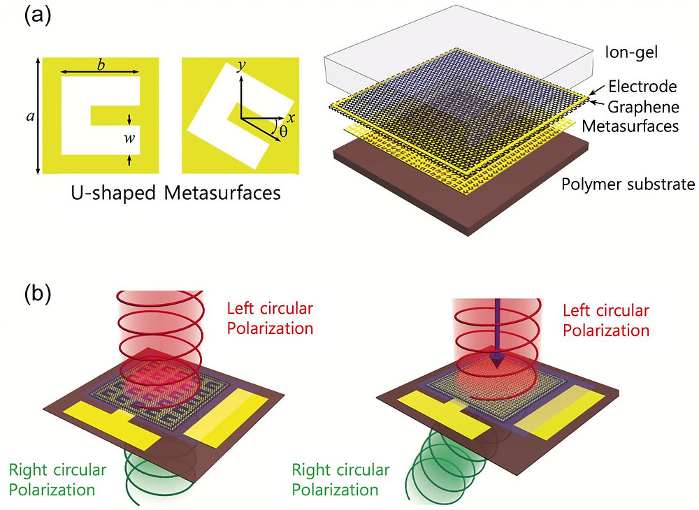 a) The metalenses are made with an atom-thick graphene sheet and a gold thin surface with tiny U-shaped holes. b) The device can convert the circular polarization of the erahertz wave from left to right. Moreover, by rotating the holes' pattern, the beam (or wave) can be bent it to the desired angle. @ IBS