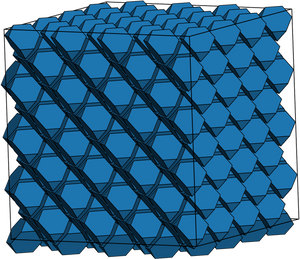 In the computer simulation, shapes are set into a structure. Then, the simulation changes the shapes until they naturally form that structure. Image credit: Greg van Anders, Glotzer Lab, University of Michigan
