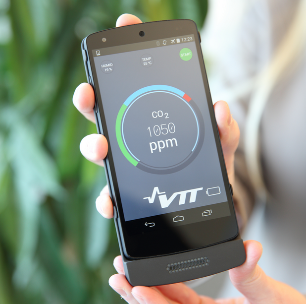 TT has developed a gas sensor that can be connected to mobile devices. Using a mobile device to measure carbon dioxide creates the possibility of developing new kinds of mobile phone applications. For example, sleep quality can be monitored by checking the levels of carbon dioxide exhaled by the sleeper.