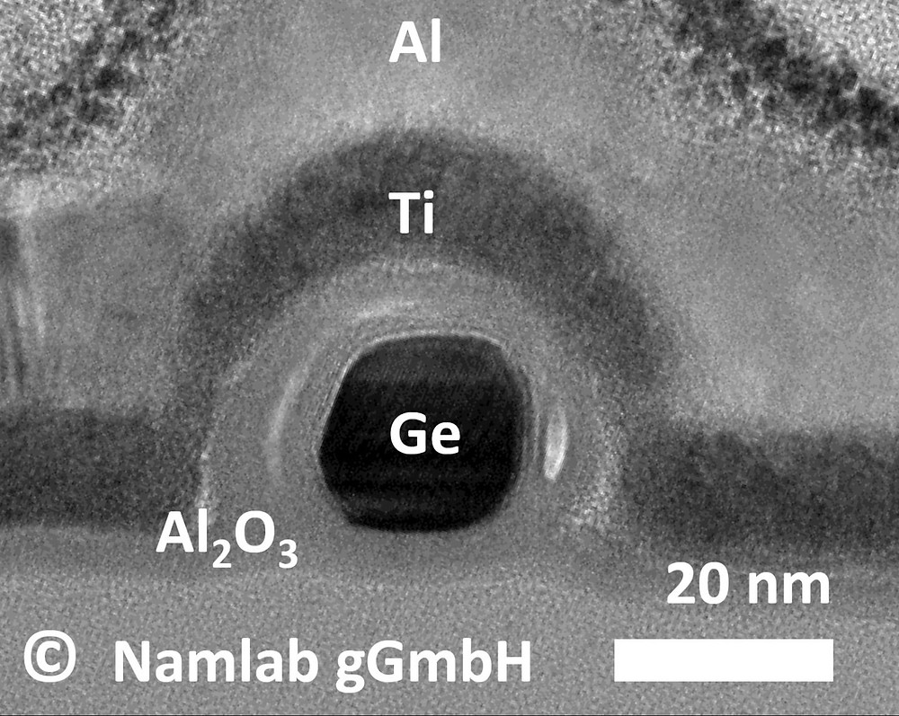 Energy-efficient germanium nanowire transistor with programmable p- and n- conduction. Transmission electron microscope image of cross section.