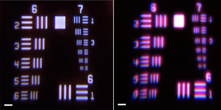 These are images of a US Air Force resolution target, a microscopic optical resolution test, imaged with (left) and without (right) the metacorrector. The linewidth of the first line in group 7 of the resolution target is 3.91 micrometers. The scale bar is 25 micrometers.  @ Capasso Lab/Harvard SEAS