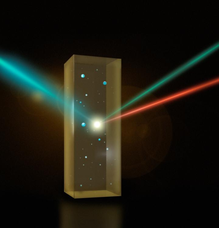The method involves overlapping ultrashort laser pulses in a mixture of water droplets in liquid oil and detecting photons that are scattered only from the interface. © EPFL/Julia Jacobi Chair of Photomedicine - Laboratory for Fundamental BioPhotonic
