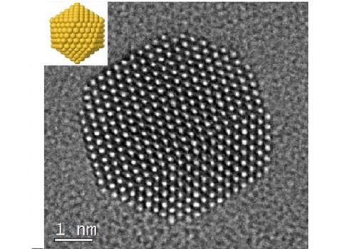 Gold nanoparticles were imaged at atomic resolution, with an idealized schematic at top left. @ Nature Publishing Group