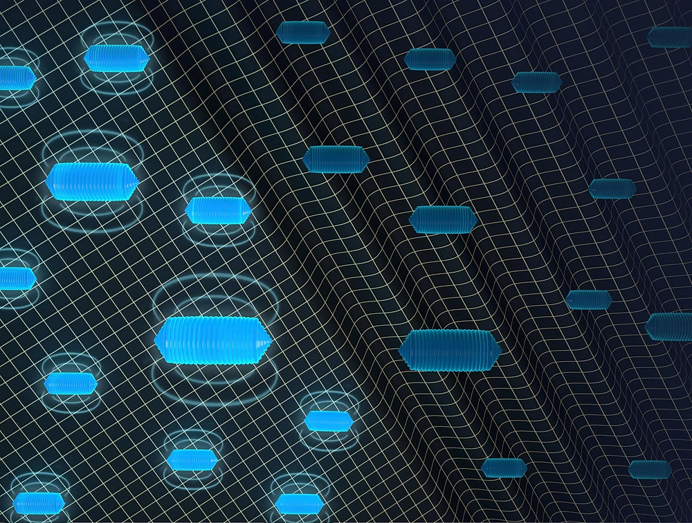 """Caltech's Mikhail Shapiro and his colleagues have developed """"erasable"""" MRI contrast agents that can blink off on command with ultrasound technology. As illustrated here, the contrast agents -- which consist of air-filled protein structures called gas vesicles -- give off magnetic signals. When hit with waves of sound, the gas vesicles collapse and their signals go away. This makes it easier for researchers to interpret MRI scans @ Barth van Rossum for Caltech"""