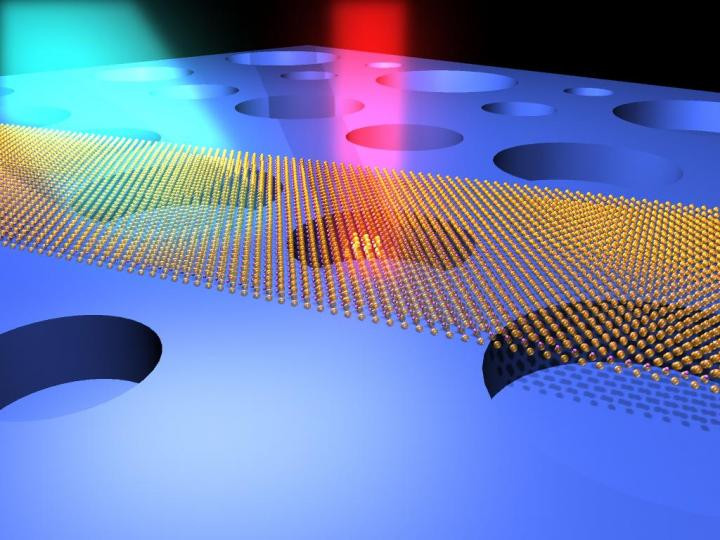 Illustration of ultrasensitive optical interrogation of the motions of atomically thin drumhead nanoelectromechanical resonators (made of atomic layers of MoS2 semiconductor crystals).  @ Case Western Reserve University