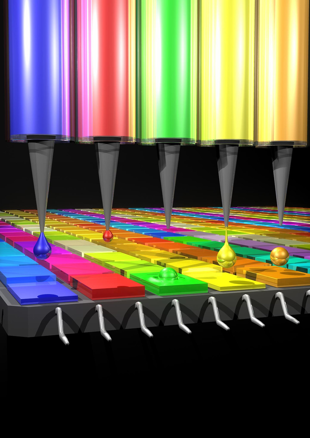 This illustration shows how a device prints the quantum dot filters that absorb different wavelengths of light depending on their size and composition. The emerging technology could give scientists a more flexible, cost-effective approach for developing spectrometers, a commonly used instrument. @ Credits: O'Reilly Science Art