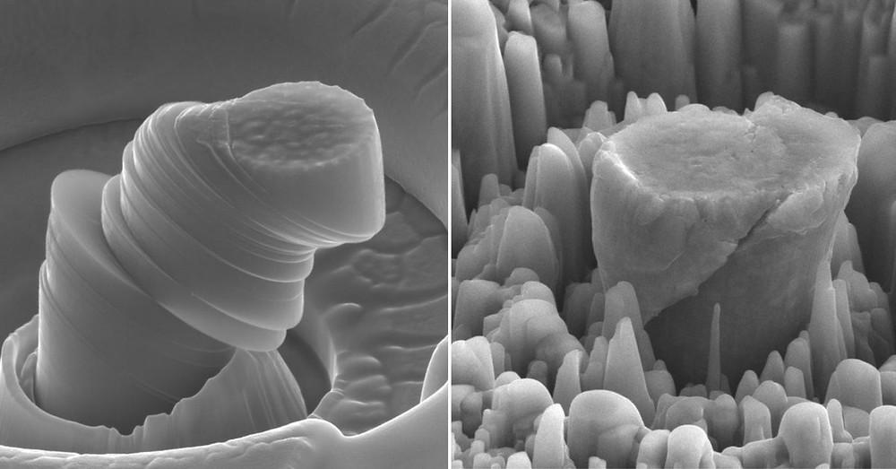 At left, a deformed sample of pure metal; at right, the strong new metal made of magnesium with silicon carbide nanoparticles. Each central micropillar is about 4 micrometers across. (UCLA Scifacturing Laboratory)