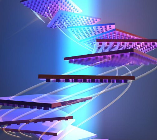 Conceptual illustration of a nano-patterned object reorienting itself to remain in a beam of light.  @ Courtesy of the Atwater laboratory