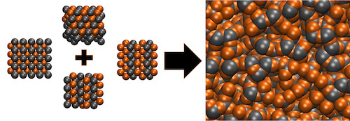 When metal alloys are melted, the atoms lose their ordered structure and become amphorous, as seen above. Most metals alloys will snap back to their rigid crystal structures when cooled back down but bulk metallic alloys will retain the random amorphous structure even in the solid state. (Image courtesy of the Vlassak Group/Harvard SEAS)