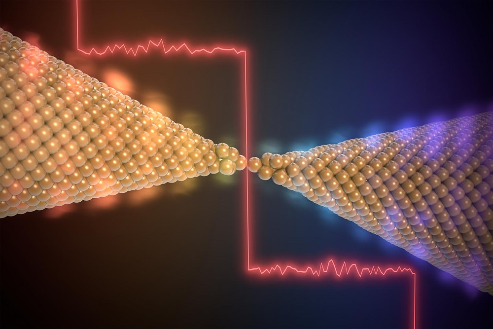This is an arists' view of the quantized thermal conductance of an atomically thin gold contact. @ Created by Enrique Sahagun