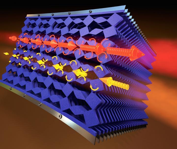 This is an artist's rendering of mechanical metamaterials. @ Cockrell School of Engineering