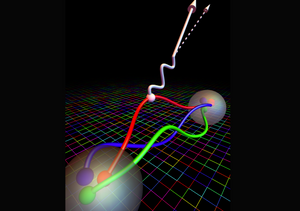 In this illustration, the grid in the background represents the computational lattice that theoretical physicists used to calculate a particle property known as nucleon axial coupling. This property determines how a W boson (white wavy line) interacts with one of the quarks in a neutron (large transparent sphere in foreground), emitting an electron (large arrow) and antineutrino (dotted arrow) in a process called beta decay. This process transforms the neutron into a proton (distant transparent sphere). (Credit: Evan Berkowitz/Jülich Research Center, Lawrence Livermore National Laboratory)