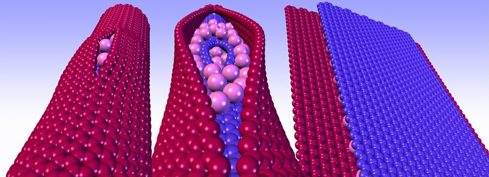 An illustration shows the process developed at Rice University that uses potassium atom insertion between layers of multiwalled carbon nanotubes to split them into graphene nanoribbons. This is followed by the addition of ethylene oxide (not shown) to render the edges with solubilizing polyethylene glycol addends on the edges. This leaves the flat surfaces of electrically conductive graphene nanoribbons intact to give a conductive surface for neuron growth between the two ends of a severed spinal cord. (Credit: Tour Group/Rice University)