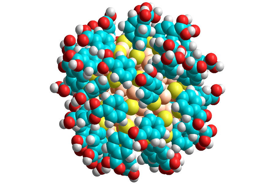 A gold nanoparticle: gold atoms are coloured pale orange, sulphur yellow, oxygen red, carbon cyan and hydrogen white.
