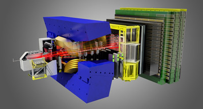 A rendering of the enormous LHCb detector, which registers approximately 10 million proton collisions per second. Scientists study the debris from these collisions to better understand the building blocks of matter and the forces controlling them.