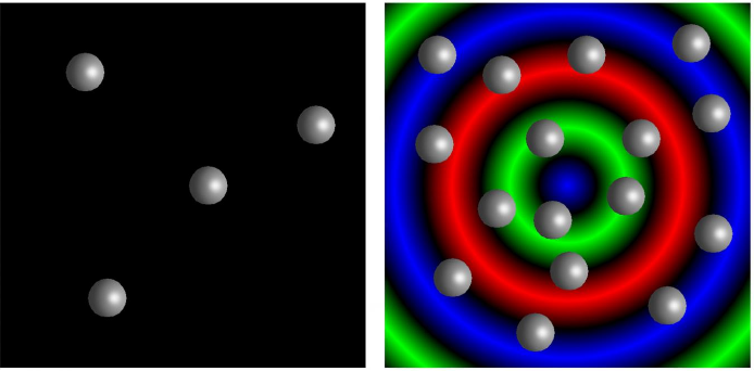 Modeled microcapsules demonstrate 'quorum sensing' behavior. A small collection of microcapsules remains dormant (left) whereas a large, crowded population exhibits oscillations in chemical activity (right), represented by circular waves of color. @ Henry Shum