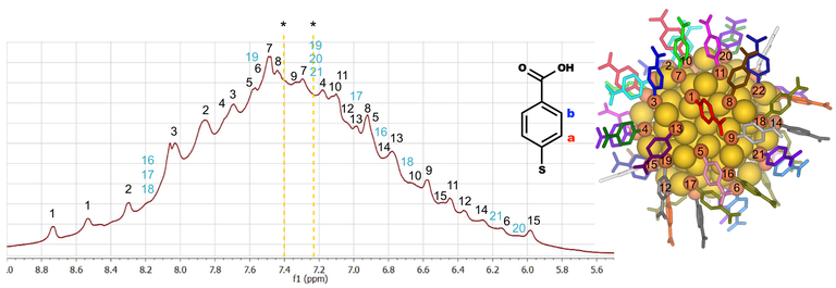 The proton NMR spectrum originating from the ligand layer of the Au102 nanoparticle in water (left). The spectrum has been fully interpreted by assigning the observed signals (peaks) to all of the 22 symmetry-unique thiol ligands numbered in the solid state structure of the Au102 particle (right).
