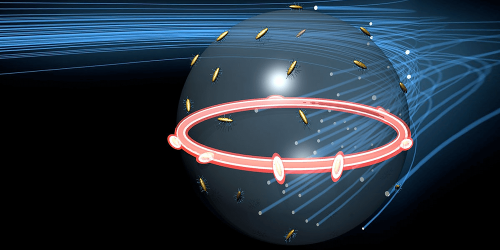 ARTISTIC RENDERING OF GOLD NANORODS ATTACHED TO THE SURFACE OF A SINGLE MICROLASER FOR FREQUENCY COMB GENERATION. ILLUSTRATION BY VINH DIEP.