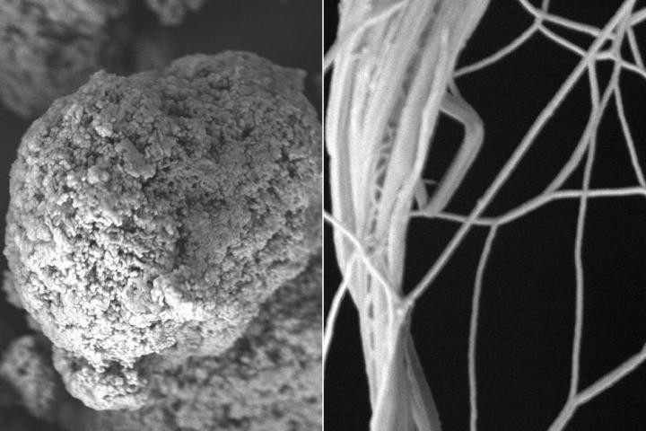 By mixing polymer powder in solution to generate a film that they then stretched, MIT researchers have changed polyethylene's microstructure, from spaghetti-like clumps of molecular chains (left), to straighter strands (right), allowing heat to conduct through the polymer, better than most metals.  @ Gang Chen et al.