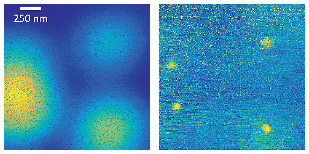 Whereas the image taken with a normal microscope is blurry (left), the new method (right) clearly shows four quantum dots (bright yellow spots).  @ University of Basel, Department of Physics