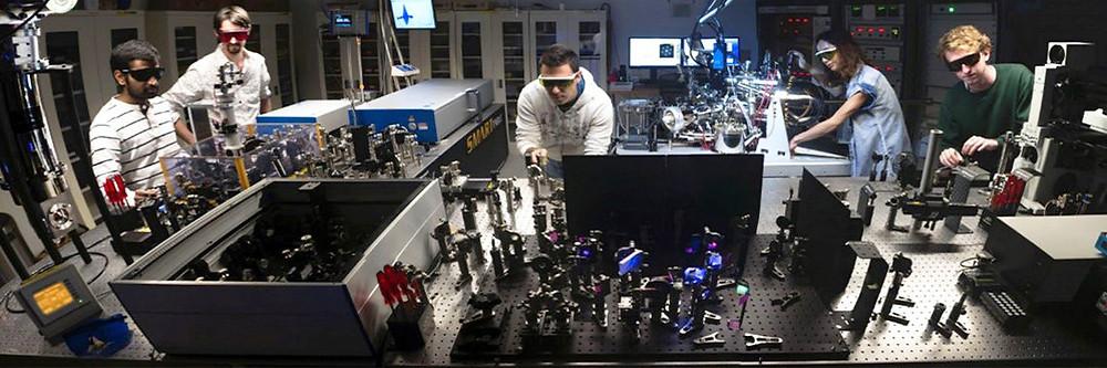 Members of the Femtosecond Spectroscopy Unit at OIST in action. Dr. Bala Murali Krishna Mariserla, Dr. Julien Madéo, Athanasios Margiolakis, Dr. Michael Man, and Skylar Deckoff-Jones @ OIST