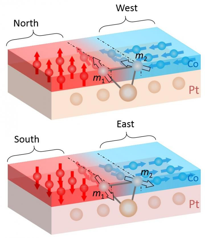 If a group of cobalt atoms aligns to the North or South (red), the neighbouring cobalt atoms align to the West or East (blue). The orientation of the neighbouring atoms is within the plane. This interaction requires sandwiching of the cobalt layer between a platinum layer (below, beige) and an aluminium oxide layer (above, not shown here).  @! Paul Scherrer Institute/Zhaochu Luo