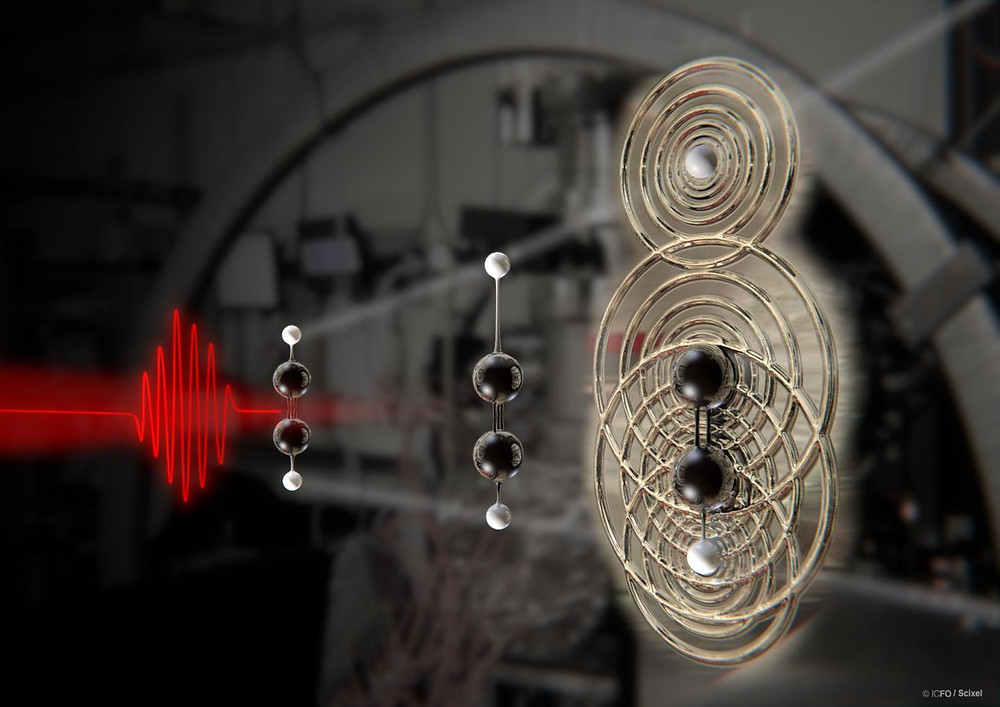 An intense laser, represented in red, is used to affect an acetylene molecule -- composed of two hydrogen atoms, represented as white balls, and two carbon atoms, represented as black balls -- to strip out an electron and initiate the break up of the molecule. After nine femtoseconds, the laser drives the free electron back to the elongated molecule to create an image. Kansas State University researchers were able to decode the image and create the first real-time observation of a molecule breaking up. CREDIT ICFO-The Institute of Photonic Sciences and Scixel