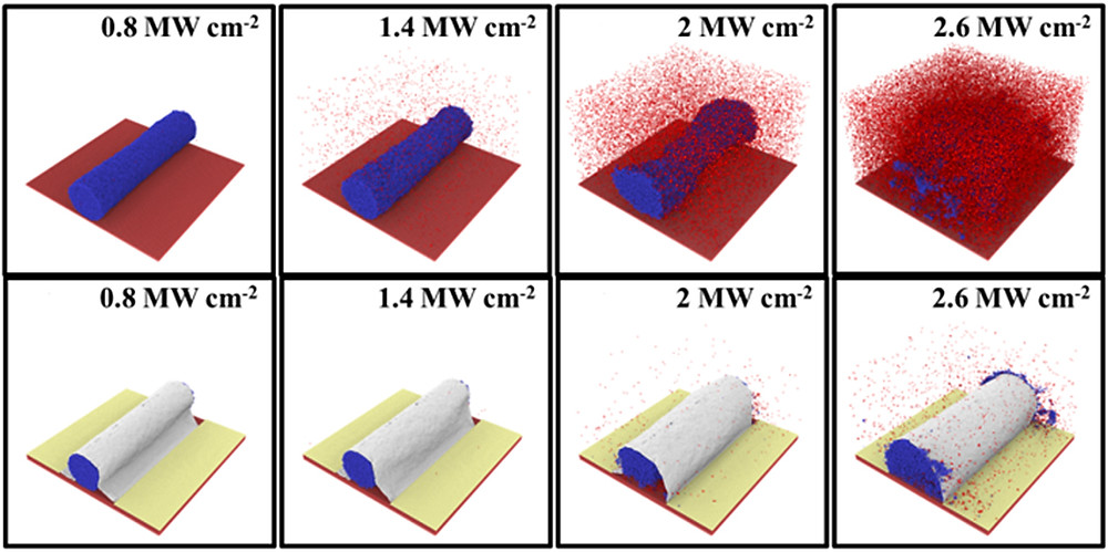 New research shows wrapping silver nanowires, which are promising for applications such as flexible displays and solar cells, with an ultrathin layer of carbon called graphene protects the structures from damage and could represent a key to realizing their commercial potential. The lower images depict how graphene sheathing protects the nanowires even while being subjected to 2.5 megawatts of energy intensity per square centimeter from a high-energy laser, an intensity that vaporizes the unwrapped wires. The upper images depict how the unwrapped wires are damaged with an energy intensity as little as .8 megawatts per square centimeter. (Purdue University photo)