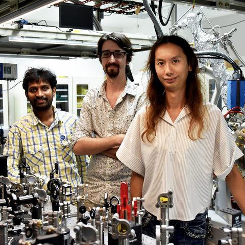 Researchers from the Femtosecond Spectroscopy Unit. From left: Dr. Bala Murali Krishna Mariserla, Dr. Julien Madéo and Dr. Michael Man @ OIST