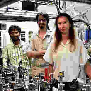 Researchers from the Femtosecond Spectroscopy Unit. From left: Dr. Bala Murali Krishna Mariserla, Dr. Julien Madéo and Dr. Michael Man @ OIST