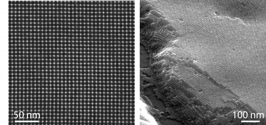 At left, a transmission electron micrograph shows a lead sulfide (PbS) nanocrystal superlattice. At right, a scanning electron micrograph shows thickness and long-range ordering of PbS nanocrystals.  Images courtesy of the Tisdale Lab.