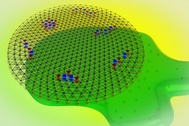 MIT researchers believe they have finally captured the process of quantum melting — a phase transition in quantum mechanics, in which electrons that have formed a crystalline structure purely through their quantum interactions melt into a more disordered fluid, in response to quantum fluctuations to their density.  Image: Jose-Luis Olivares/MIT (Wigner crystal image courtesy of Arunas.rv/CC BY-SA 3.0)