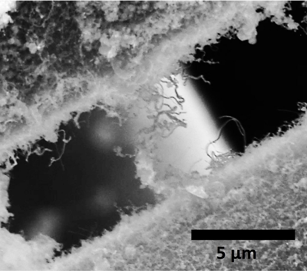 Silicon carbide nanotubes attached to separate silicon carbide fibers, used by NASA, entangle each other in this electron microscope image. The material created at Rice University is intended for a ceramic composite that would make rocket engines stronger, lighter and better able to withstand extreme heat. @ Ajayan Research Group/Rice University