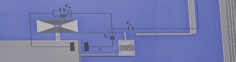Electron microscope picture of the quantum circuit built by the researchers. The width of the picture corresponds to only a third of a millimeter.  @ TU Delft