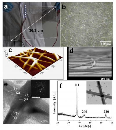 Left, photograph of a large-scale silver nanowire-coated flexible film. Right, silver nanowire particles viewed under the microscope. @ S.K. Yoon, Korea University
