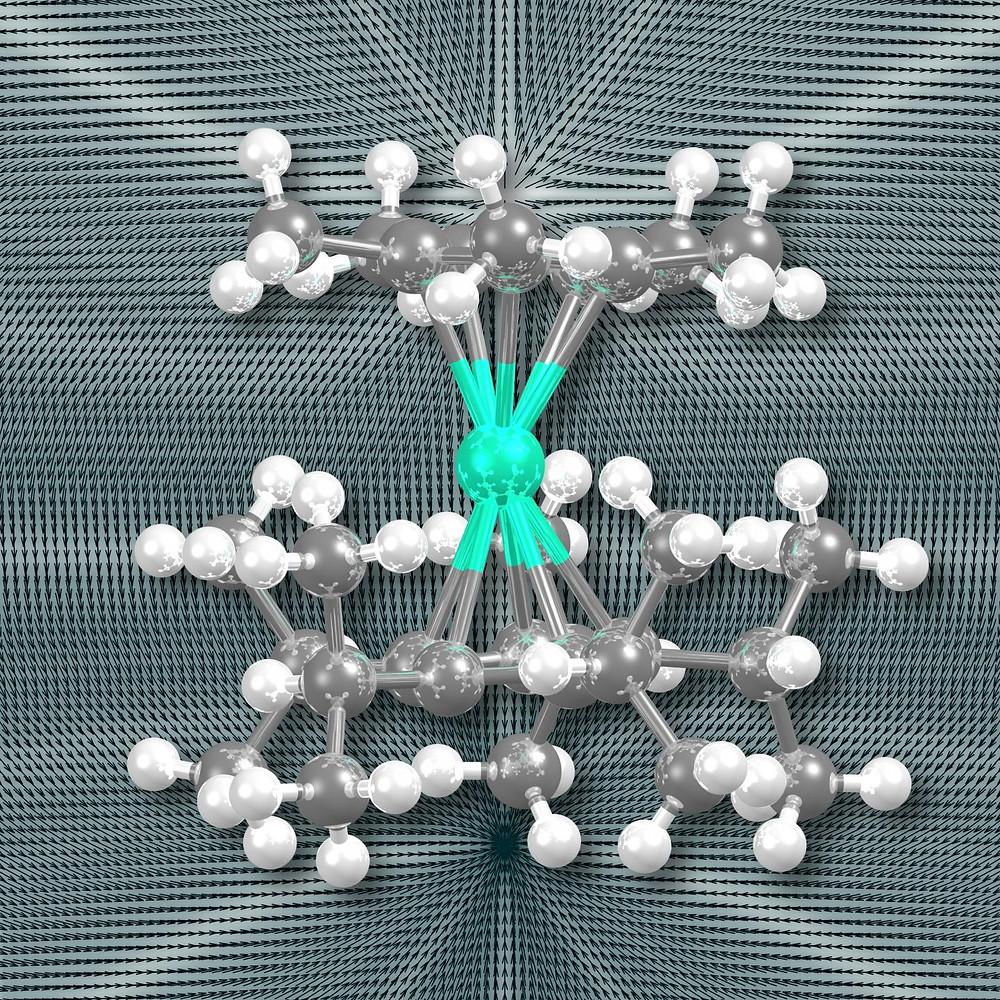 The new dysprosium metallocene compound.  @ Postdoctoral researcher Akseli Mansikkamäki from University of Jyväskylä