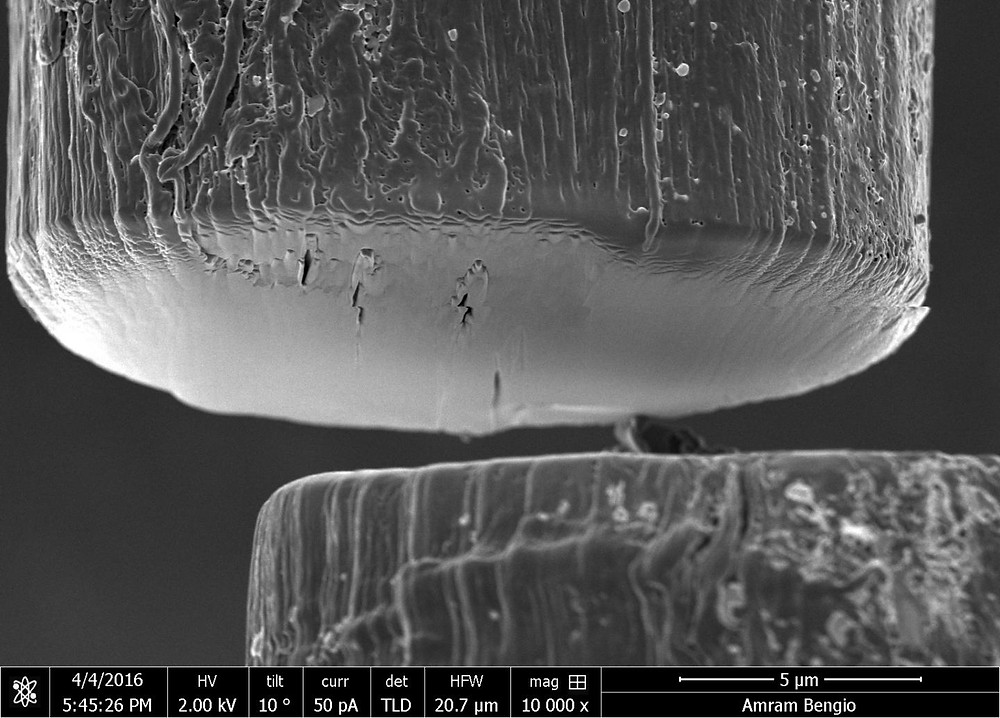 Thread-like fibers created with a new, rapid method at Rice University are made of billions of carbon nanotubes that can be quickly aligned by shear force between slides.  @ Complex Forms of Complex Fluids/Rice University