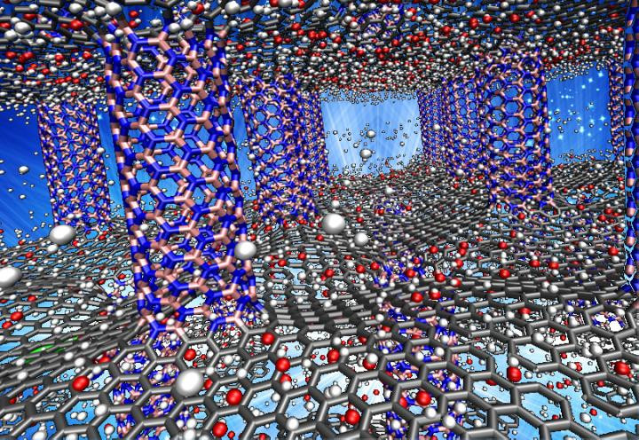 Simulations by Rice University scientists show that pillared graphene boron nitride may be a suitable storage medium for hydrogen-powered vehicles. Above, the pink (boron) and blue (nitrogen) pillars serve as spacers for carbon graphene sheets (gray). The researchers showed the material worked best when doped with oxygen atoms (red), which enhanced its ability to adsorb and desorb hydrogen (white). @ Lei Tao/Rice University