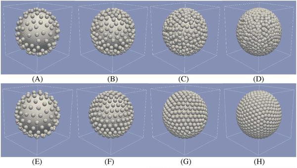 Geometric features of gold-coated liposomes based on random (A-D) and uniform (E-H) arrangements of gold nanoparticles on the core surface. @ Jaona Randrianalisoa, Xiuying Li, Maud Serre, Zhenpeng Qin