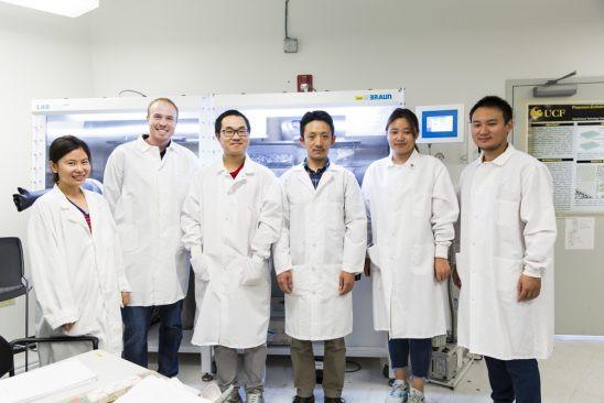 Researchers Zhao Li, Kyle Marcus, Kun Liang, Assistant Professor Yang Yang, Guanzhi Wang and Wenhan Niu are developing new energy technologies.