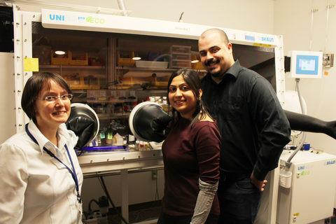 Prof. Julia Khusnutdinova, Dr. Pradnya Patil and Mr. Sébastien Lapointe demonstrate how the ligands are prepared in their laboratory at OIST.  Credit:  OIST