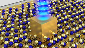 A single gold nanocube sits on top of an atom-thin material made of unique semiconductor crystals. The five nm gap is created between the bottom side of the nanocube and the gold mirror below it, concentrating enough energy to create a stream of photons.