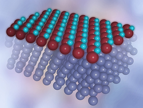 Computer visualization of a single layer of a new form of iron oxide on a platinum substrate. Iron atoms in brown, oxygen atoms in light blue. (Source: IFJ PAN)